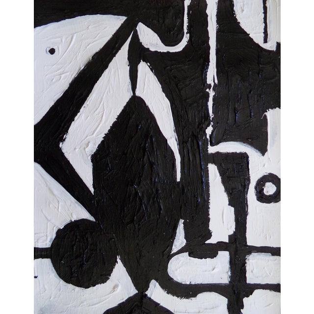 Abstract Expressionism Abstract Black and White Painting For Sale - Image 3 of 3