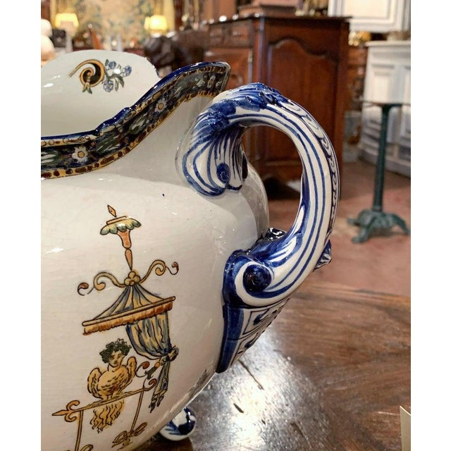 19th Century French Louis XV Hand Painted Porcelain Cache Pot Signed Gien For Sale - Image 9 of 11
