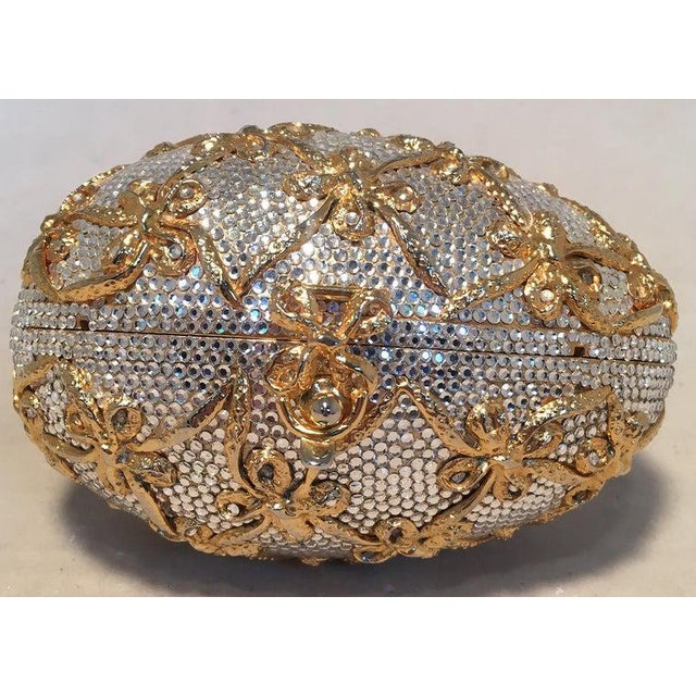 Judith Leiber Swarovski Crystal Clear and Gold Faberge Egg Minaudiere For Sale In Philadelphia - Image 6 of 10