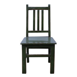 Asian Style Handmade Dark Green Small Wood Chair For Sale