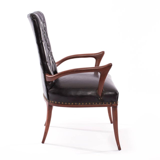 1950s Mid-Century Modern Sculptural Mahogany and Upholstered Armchair For Sale - Image 4 of 6
