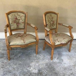 Pair of Louis XVI French Aubusson Tapestry Fruitwood Armchairs Preview