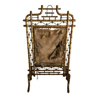 19th C. French Faux Bamboo Fire Screen For Sale