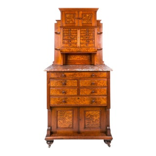19th Century Victorian Walnut and Marble English Dental Cabinet For Sale