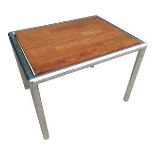 Lane Mid-Century Modern Chrome & Wood End Table