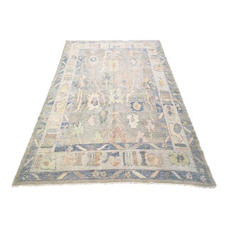Contemporary Hand-Knotted Turkish Oushak Rug For Sale
