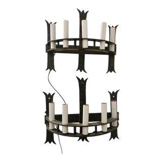 Antique Gothic Revival Iron Mizner Sconces - a Pair For Sale