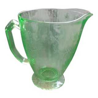 Vintage Green Depression Glass Poppy Etched Pitcher For Sale