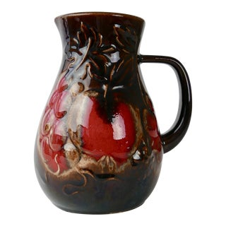 1950s German Pottery Mini Pitcher With Fruit Motif by Scheurich For Sale