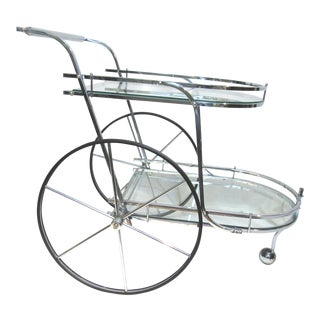Vintage Mid-Century Modern Chrome and Glass Tea or Cocktail Cart For Sale