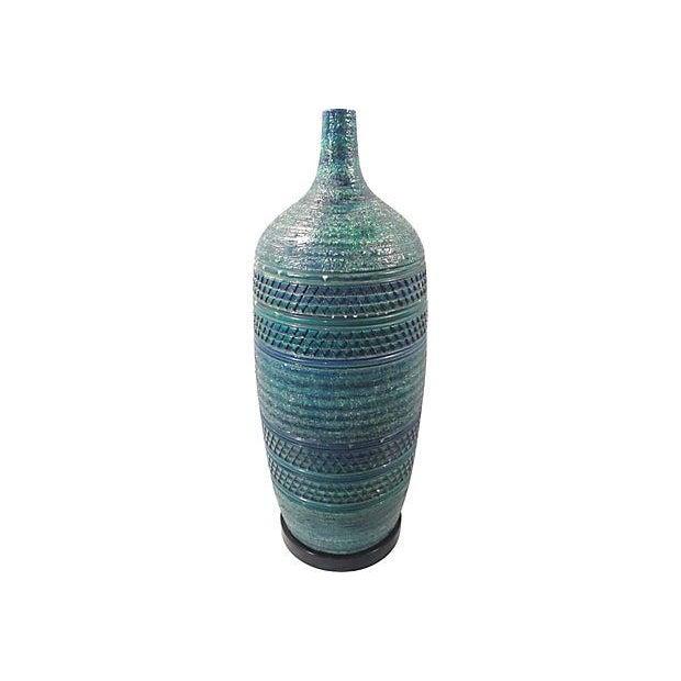 Italian Bitossi Turqoise Blue Large Ceramic Lamp For Sale - Image 3 of 6