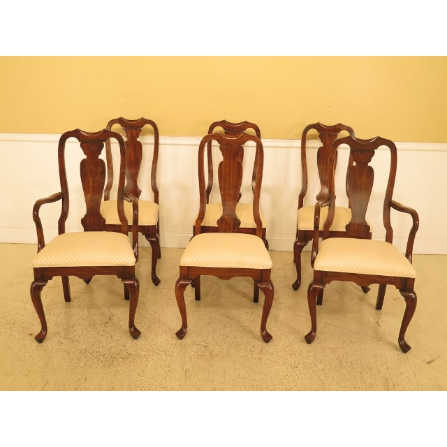 1990s Vintage Harden Furniture Cherry Wood Queen Anne Style Dining Room Chairs - Set of 6 For Sale - Image 13 of 13