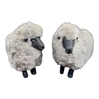Late 20th Century Lalanne Style Gray Sheep Footstools - a Pair For Sale