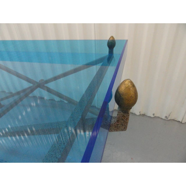 Blue 1970s Contemporary Steel and Blue Perspex Coffee Table For Sale - Image 8 of 10
