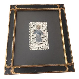Antique Angelic Laced Paper Relic, Framed For Sale