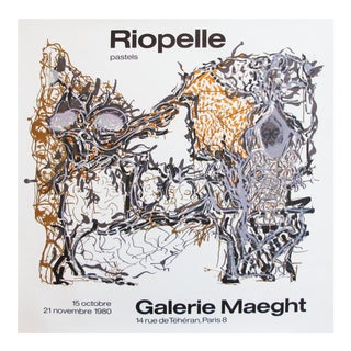 1980 Riopelle Abstract Art Poster, Pastels For Sale