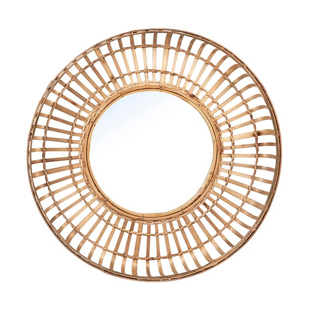Tan Bamboo Basket Mirror For Sale In Los Angeles - Image 6 of 6
