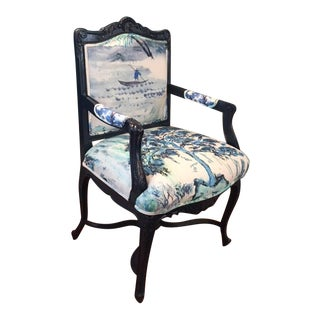 French Louis XV Style Padded Arm Chair For Sale