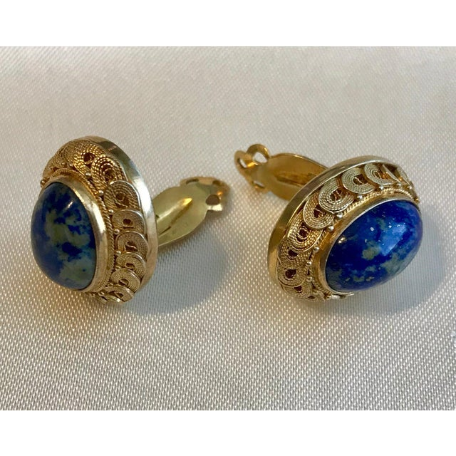 Asian 1950s Chinese Gold-Plated Sterling Silver Blue Sodalite Clip-Back Earrings For Sale - Image 3 of 6