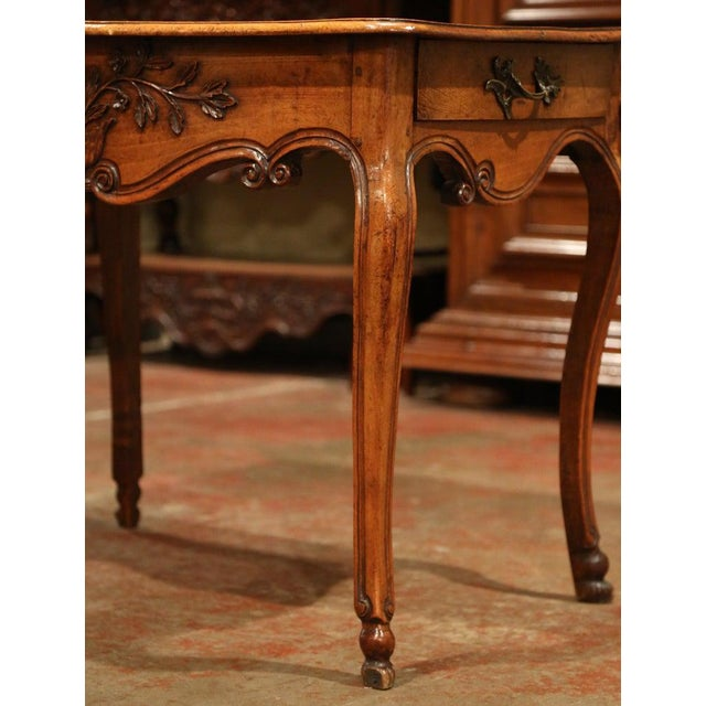 French 18th Century French Louis XV Carved Bombe Walnut Console Table From Provence For Sale - Image 3 of 9