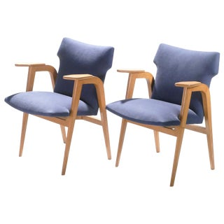 French Midcentury Oak Compass Armchairs by Roger Landault, 1950s - a Pair For Sale