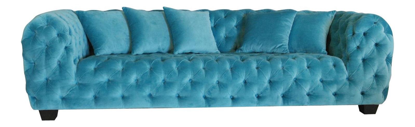 Beau Casa Milano Collection Blue Velvet Tufted Sofa