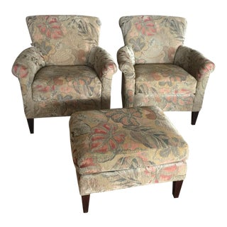 Crate & Barrel Woven Leaf Tapestry Chairs & Ottoman - Set of 3