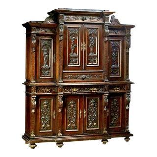 Antique Italian Renaissance Style, Walnut Buffet Deux Corps For Sale