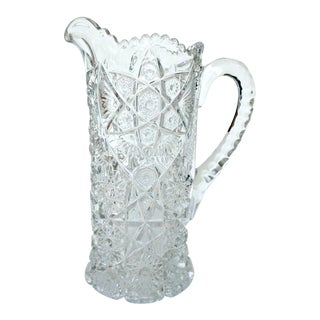 EAPG Antique Nucut Heavy Large Pressed Glass Clear Crystal Pitcher For Sale