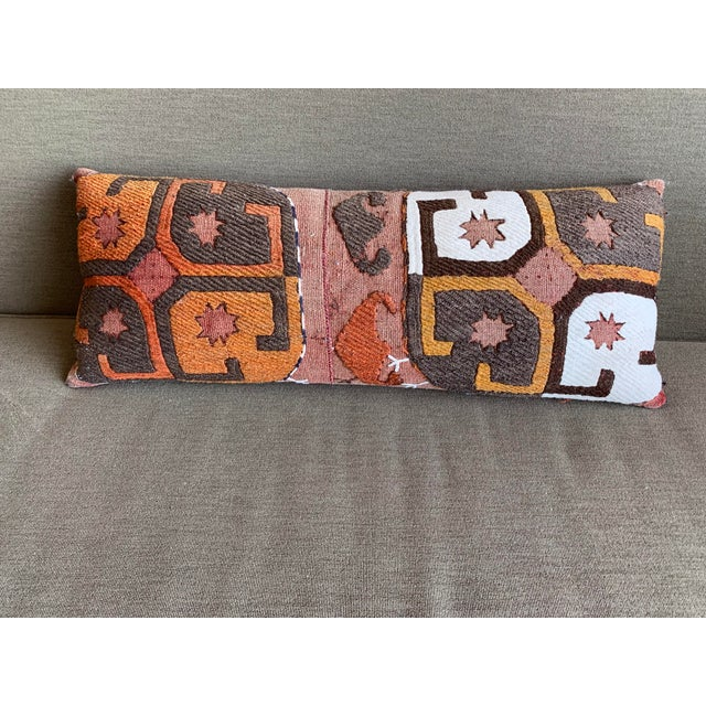 Oblong Pillow Cut From Handmade Antique Rug 3 Available For Sale - Image 4 of 10