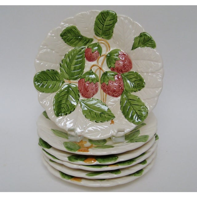 Vintage 1980s embossed porcelain plates by Shafford, each hand painted with various fruits in discontinued Fruit du Jour...