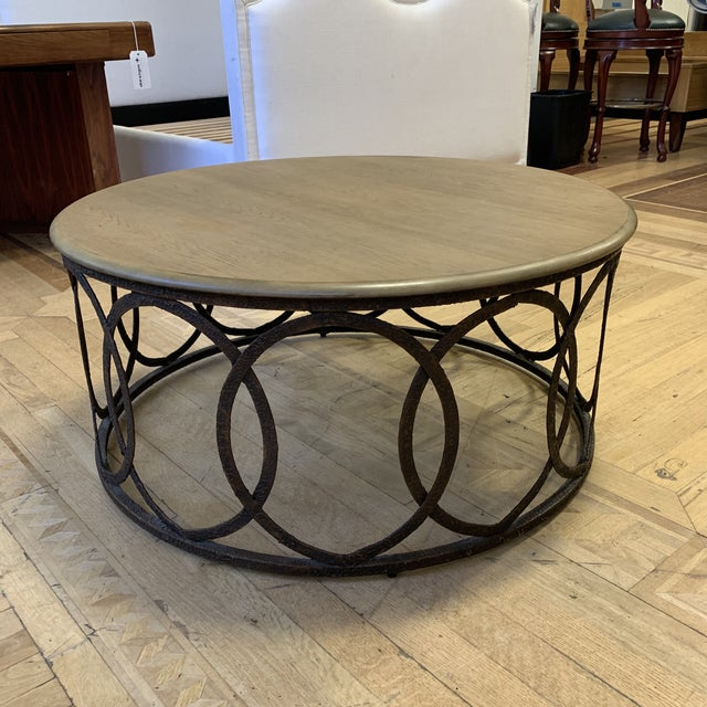 Rustic Layla Grace Round Metal Coffee Table For Sale - Image 3 of 8