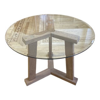 Crate & Barrel Teak + Glass Round Table For Sale