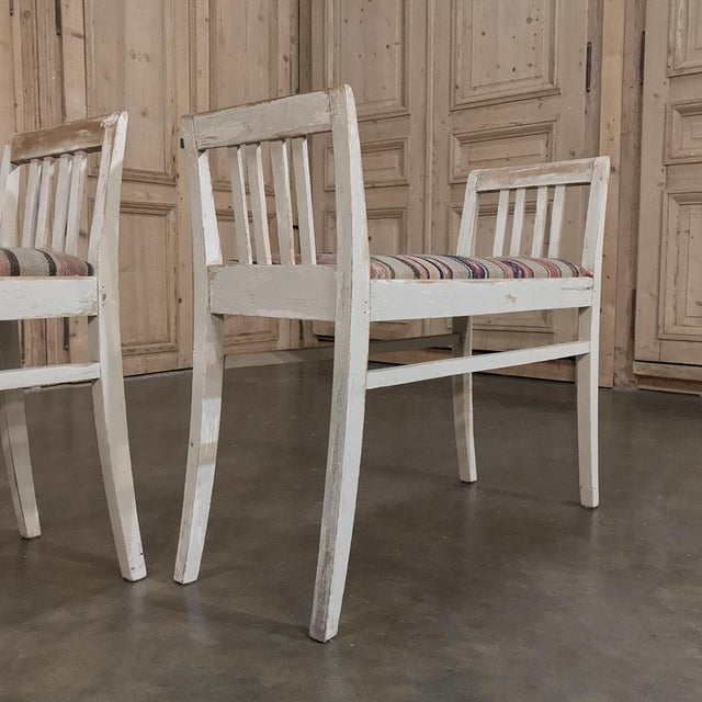Pair 19th Century Antique Swedish White Painted Stools With Ikot Upholstery For Sale - Image 4 of 11
