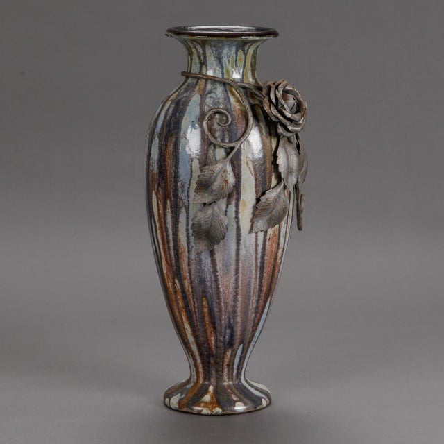 Tall Signed Roger Guerin Vase with Iron Overlay For Sale - Image 4 of 8
