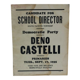 1935 Vintage Democratic Party School Director Campaign Sign For Sale