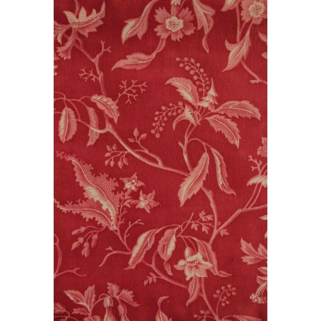 French Antique French Pillement Inspired Red Resist Printed Textile Fabric With Ticking For Sale - Image 3 of 10