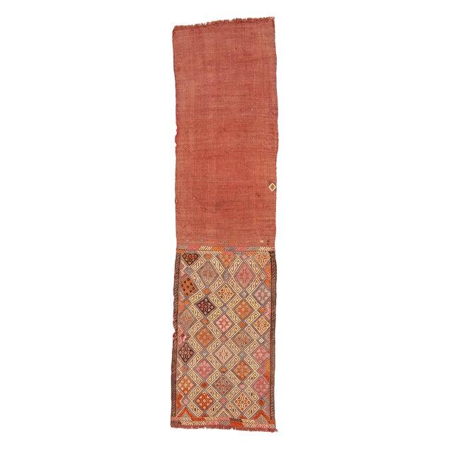 1960s Vintage Embroidered Decorative Kilim Rug- 1′11″ × 7′6″ For Sale