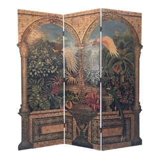 Art Deco Trompe L'oiel Embossed 3-Panel Room Divider Screen