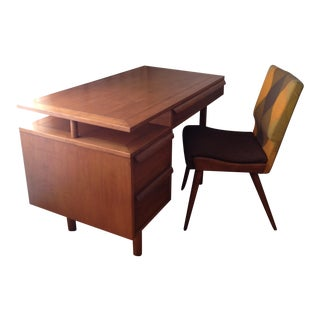 Mid-Century Desk With Original Chair - A Pair