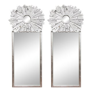 Pair of Contemporary Silvered Sunburst Mirror For Sale