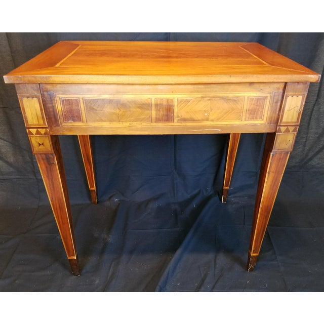 Mahogany Italian Neo Classic Parquetry Inlaid Writing Table. For Sale - Image 7 of 9