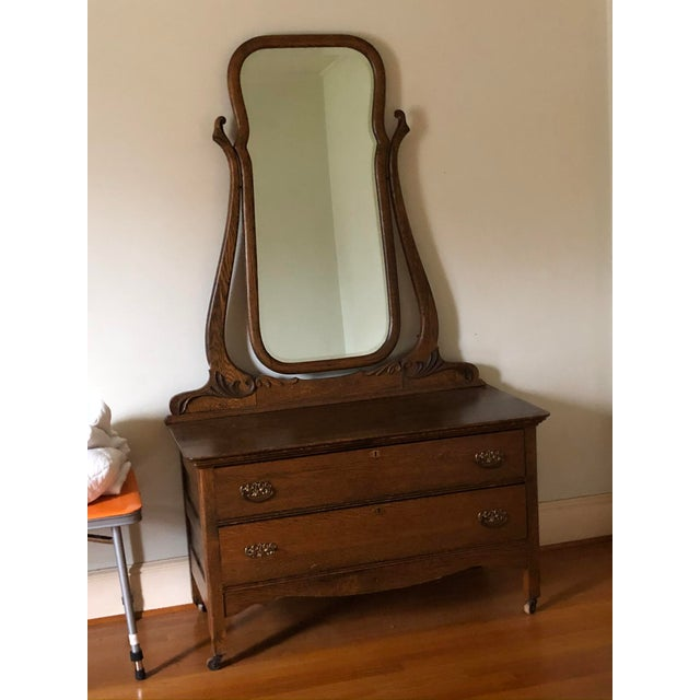 1940s Vintage Vanity With Mirror For Sale - Image 4 of 5