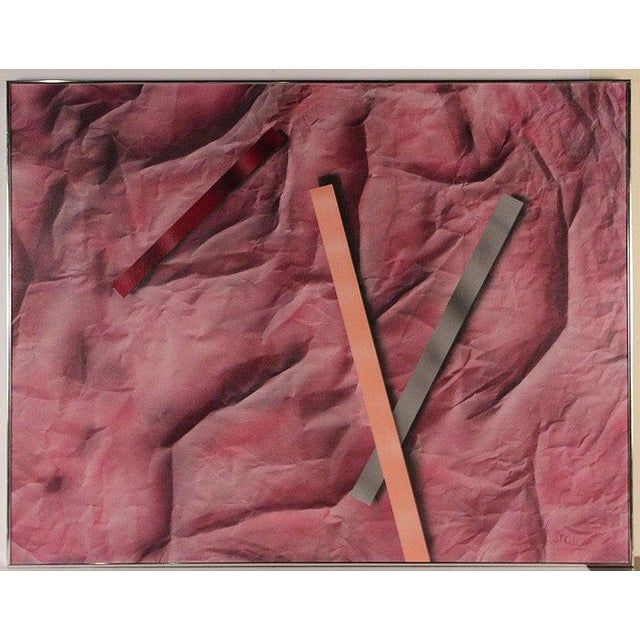 Red 1980s Original Vintage R. Steele Abstract 3-D Op Art Mid-Century Modern Crimson Red Acrylic on Canvas Painting For Sale - Image 8 of 8