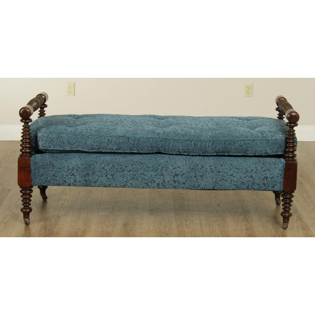 Traditional Antique 19th Century Bobbin Turned End of Bed or Window Bench For Sale - Image 3 of 13