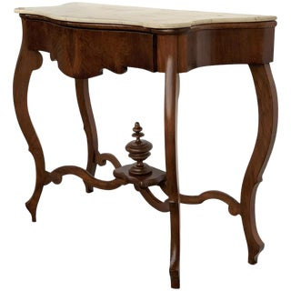 19th Century Marble-Top Walnut Console Table With Drawer For Sale