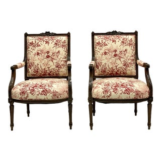 Antique French Carved Fruitwood Bergere Chairs in Brunschwig Toile -A Pair For Sale