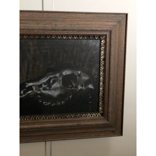 2010s Black and White Watercolor of an Animal Skull For Sale - Image 5 of 11