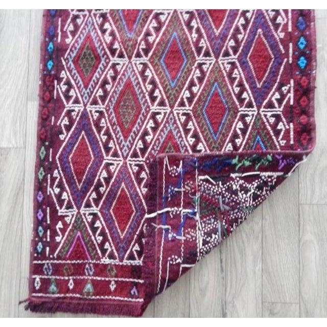 Textile Vintage Mid Century Geometric Rug- 1′8″ × 2′12″ For Sale - Image 7 of 8