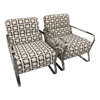 Mid Century Modern Chrome Club Chairs-A Pair For Sale